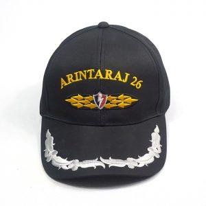 หมวกตำรวจสีดำปักปีกหมวก