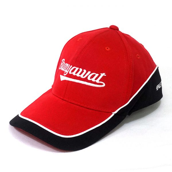 หมวกแก๊ปตัดต่อสีแดงดำ